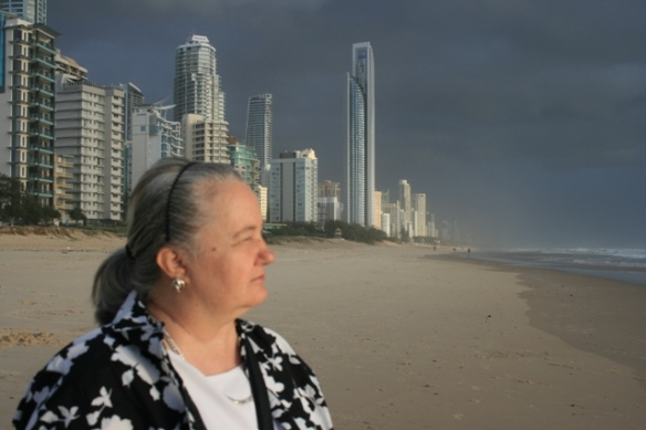 Karen Robinson - Abstract Artist at Broadbeach, Gold Coast, Queensland - Australia 2014 whilst visiting sister - a wonderful catch up time with loved ones -Photographed by Hubby NB: All images are protected by copyright laws.JPG