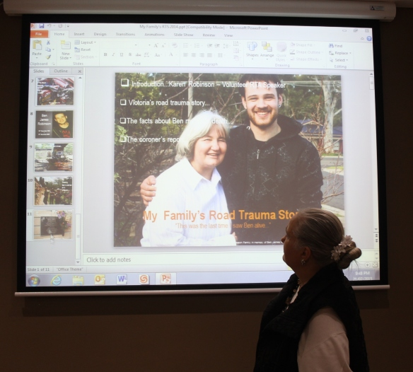 Karen Robinson - RTAS Volunteer Speaker Presenting her family's road trauma story at Werribee RTAS July 2015 Photo No. 2.JPG
