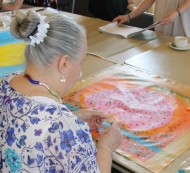 No. 2 of 17 Art Therapy Sessions 14th & 17th Sept 2015 Karen Robinson-Abstract Artist working on own individual art work-all images copyright protected.JPG