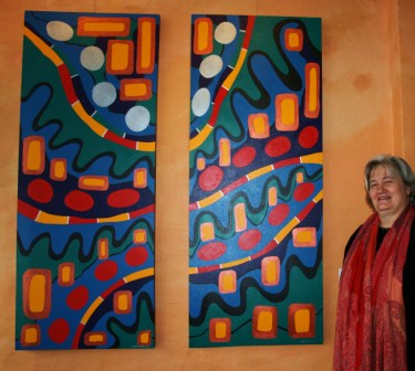 Synergy Gallery Exhibition 2009 - Abstract Artist - Karen Robinson Painting Nos. 26A & 26B Title - Green Peace & Human Nature 2008