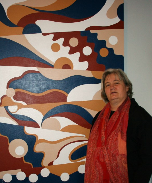Synergy Gallery Exhibition 2009 - Abstract Artist - Karen Robinson with Painting No. 23 Titled - Related Families 2008