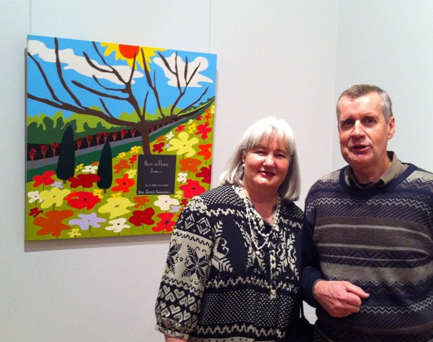 Karen Robinson - Abstract Artist with Hubby standing along side of Painting No. 45D Titled 'Rest in Peace Ben' at TAC's 'Picture This' Exhibition 2011 at Geelong Gallery NB All images are protected by copyright.JPG