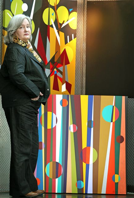 "I was photographed by the Herald Sun (Andrew Tauber) at TAC's 'Picture This' Exhibition in 2010 at Federation Square, Melbourne – Australia. The photo features: Painting No. 45A – 'The Life of Our Son Ben' in the foreground; Painting No. 45B – ""The Death of Our Son Ben"" in the background to the left with Painting No. 45C – ""The Loss of Our Son Ben"" in the background to the right. This was the very first time I had shown my paintings to the public. It was a very emotional experience shared by family, friends and other artists who had experienced road trauma. NB: These paintings can be viewed with each of their painting stories, under the tab 'Abstract Painting Portfolio' in 2010. Also further information on TAC's Picture This Exhibition 2010 can be found under the tab 'Artist Exhibitions' in 2010."