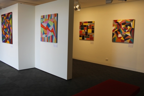 Karen Robinson's solo exhibition titled 'When Words are hard to find' at Gee Lee-Wik Doleen Gallery 2015 - in this photo featuring some of the paintings exhibited - 'Lifes A Washing Machine', 'America's Economy Crash', 'Brick Wall' and 'A Fractured Life' NB: All images are protected by copyright laws.JPG