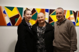 My wonderful daughter, me Karen Robinson - Abstract Artist and my dear husband at my very first Solo Exhibition Opening Night Titled 'When words are hard to find!' 2015 Gee Lee-Wik Doleen Gallery, Craigieburn, Melbourne, Australia. Painting featured titled 'The Dinning Room Table 2009 NB: Images are protected by copyright laws.JPG