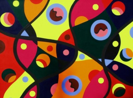 """Painting No. 12 - Title """"Coloured DNA"""" by Abstract Artist Karen Robinson - 2008 NB: All images are protected by copyright laws!"""