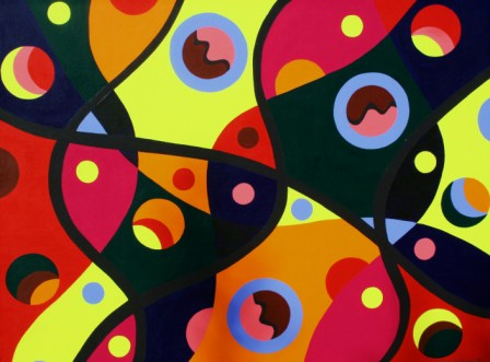 "Painting No. 12 - Title ""Coloured DNA"" by Abstract Artist Karen Robinson - 2008"