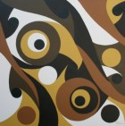 """Painting No. 18 - Title """"Watching You"""" by Abstract Artist Karen Robinson - 2008 NB: All images are protected by copyright laws!"""