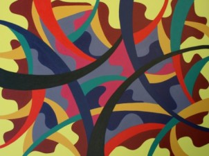 """Painting No. 19 - Title """"Polluted Olympics"""" by Abstract Artist Karen Robinson - 2008 NB: All images are protected by copyright laws!"""