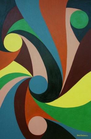 "Painting No. 20 - Title ""Zero In"" by Abstract Artist Karen Robinson - 2008"