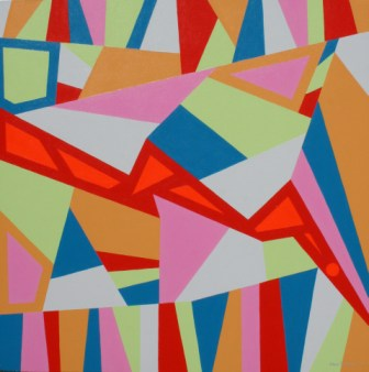 "Painting No. 28 - Title ""America's Economy Crash 08"" by Abstract Artist Karen Robinson - 2008"