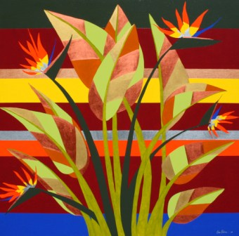"Painting No. 38 - Title ""A Bird of Paradise"" by Abstract Artist Karen Robinson - 2009"