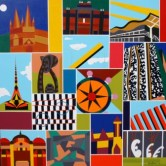 """Painting No. 44 - Title """"My Melbourne"""" by Abstract Artist Karen Robinson - 2010 All images are protected by copyright laws!"""