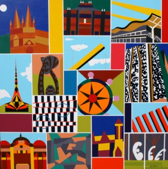 "Painting No. 44 - Title ""My Melbourne"" by Abstract Artist Karen Robinson - 2010"