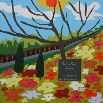"Painting No. 45D - Title ""Rest in Peace Ben"" by Abstract Artist Karen Robinson - 2011"