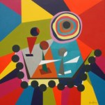 "Painting No. 45E - Title ""Reaching out to Sons"" by Abstract Artist Karen Robinson - 2011 NB: All images are protected by copyright laws!"