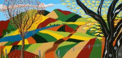 """Painting No. 51 - Title """"Valley of a Thousand Hills"""" by Abstract Artist Karen Robinson - 2011 NB: All images are protected by copyright laws!"""