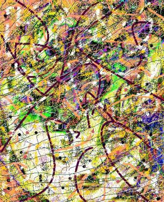 """Abstract Digital Photo Painting No. 5B """"Melbourne Cup - Roses on Hat"""" 2008 by Abstract Artist: Karen Robinson"""