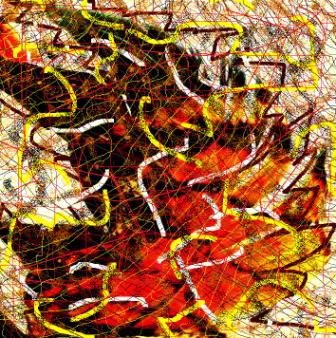 """Abstract Digital Photo Painting No. 8A """"Oaks Day - Feather in Hat"""" 2008 by Abstract Artist: Karen Robinson"""