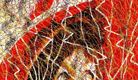 """Abstract Digital Photo Painting No. 9A """"Oaks Day - Feather in Hat"""" 2008 by Abstract Artist: Karen Robinson"""
