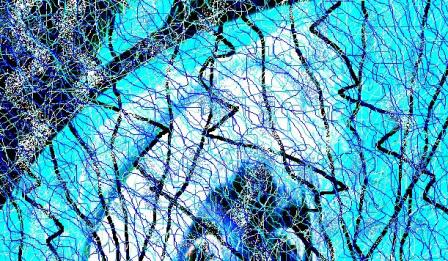"""Abstract Digital Photo Painting No. 9B """"Oaks Day - Lady in Red White"""" 2008 by Abstract Artist: Karen Robinson"""