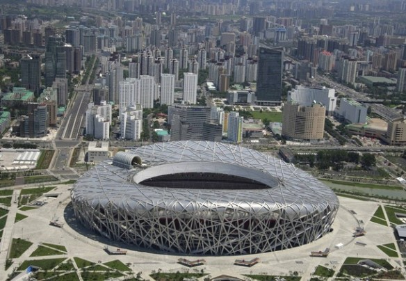 An aerial view shows the National Stadium, also known as the Bird's Nest, at the Olympic Green in Beijing July 6, 2008. Picture taken July 6, 2008. REUTERS/Yu Shihai/Beijing Tourism Administration/Handout (CHINA) (BEIJING OLYMPICS 2008 PREVIEW).