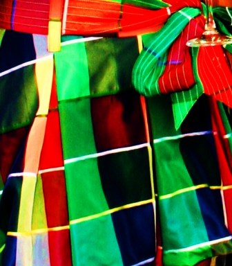 A Digitally enhanced close up of the tartan skirt worn by the young racegoer at 'Derby Day' 2008. Photo taken by Karen Robinson - Abstract Artist NB All images are protected by copyright