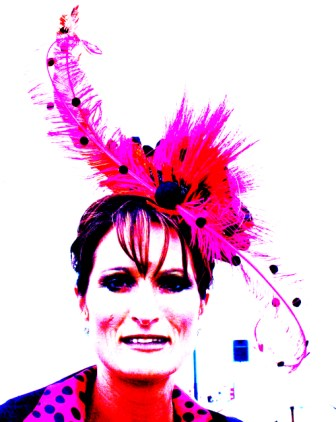 Digitally enhanced photo of lady in striking Peter Jago Hat Photo taken by Karen Robinson - Abstract Artist NB All images are protected by copyright laws!