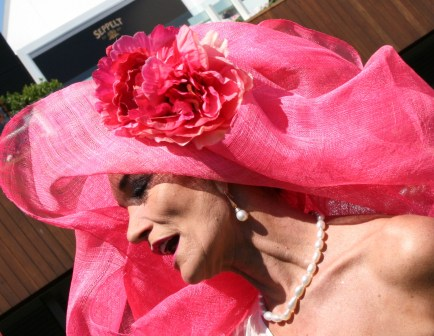 Melbourne Cup 2008 - Helen Court - Lady in Fabulous Pink Hat Photo taken by Karen Robinson - Abstract Artist