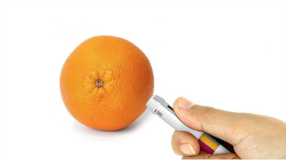 Then, after the pen analyzed the specific orange of this paricular orange, you could take the tint to paper (Scribble. 2014)