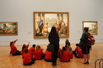 Group sitting in front of 'Giambattista Tiepolo The Banquet of Cleopatra 1743-44' at National Gallery of Victoria's 'Art as Therapy' Works July 2014 NB: All images are protected by copyright laws!