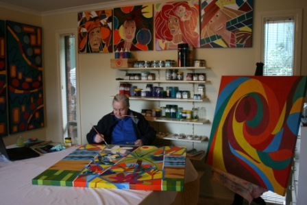 Karen Robinson - Abstract Artist working in Home Studio June 2014 NB All images are protected by copyright laws