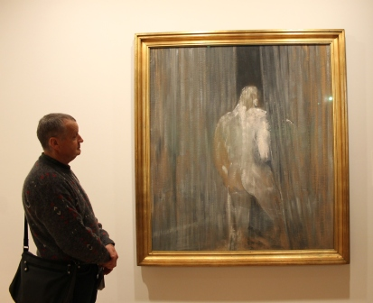 Karen Robinson's Husband standing next to 'Francis Bacon Study from the human body 1949' at National Gallery of Victoria's 'Art as Therapy' Works July 2014 NB: All images are protected by copyright laws!