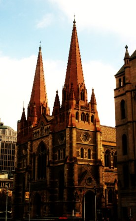 No. 1 - My Melbourne - Catherdal opposite Federation Square - June 09 Photo taken by Karen Robinson Abstract Artist NB All images are protected by copyright laws!