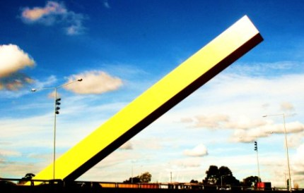 No. 6 - My Melbourne - Yellow Cheese Stick over the Tullamarine Fwy 09 Photo taken by Karen Robinson Abstract Artist NB All images are protected by copyright laws!