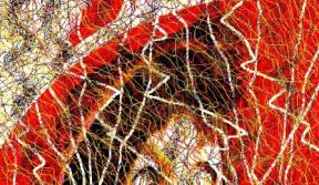 Oaks Day 2008 - Lady in Red - Single Abstract Digital Photo Painting Version Two - taken by Karen Robinson Abstract Artist NB All images are protected by copyright laws