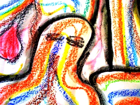 2 Therapy Group Session 1-7 Work by Karen Robinson - Crayon on butcher paper titled 'The Group' July 2014 iphone image .JPG