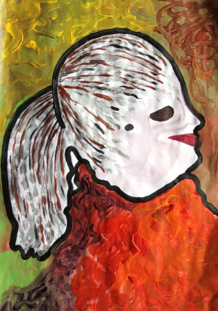 Art Therapy Session No. 2-'Silhouette Portrait' by Karen Robinson Materials-acrylic paint on butcher paper August 7, 2014 photograph taken by Karen Robinson Images Copyright .JPG