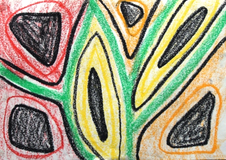 Art Therapy Session No. 2 - 'Stream of consciousness!' by Karen Robinson Materials-crayon on butcher paper August 7, 2014 photograph taken by Karen Robinson Images copyright .JPG