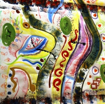 Art Therapy Session No. 4 'Using music to inspire the artist within!' Painting by the Art Therapy Group View 5 of 6 - August 2014 All images protected by copyright laws.JPG