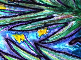 5 - Art Therapy Session No. 5 'Going to a safe place!' Painting by Abstract Artist Karen Robinson Sept 2014 NB All images are protected by copyright laws! .JPG