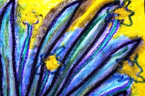 6 - Art Therapy Session No. 5 'Going to a safe place!' Painting by Abstract Artist Karen Robinson Sept 2014 NB All images are protected by copyright laws! .JPG