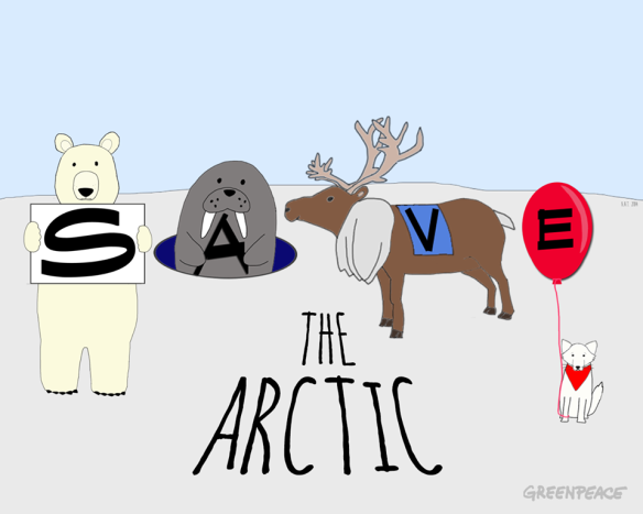 Greenpeace International Cartoon titled 'Save the Arctic' Image ID: 10898088_10152757856183300_4632952528617693216_n Reference: https://www.facebook.com/greenpeace.international?fref=nf