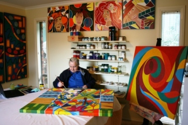 15-Process used Painting No. 57 Titled 'A Celebration of Womanhood' Painting drying on stand - more coats to do Photographed by Karen Robinson Abstract Artist 2014..JPG