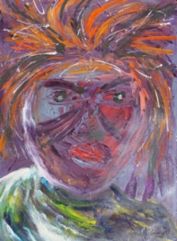 No. 1 Creative Writing & Abstract Painting 'The Face Mask' Acrylic Paint on A3 HW Paper by Karen Robinson Nov 2014 NB All images are subject to copyright laws .JPG