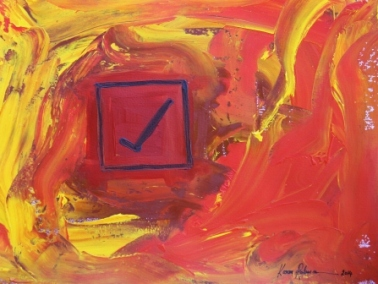 No. 1 Creative Writing & Abstract Painting 'The Happy Box!' Acrylic Paint on A3 HW Paper by Karen Robinson Oct 2014 NB All images are subject to copyright laws.JPG