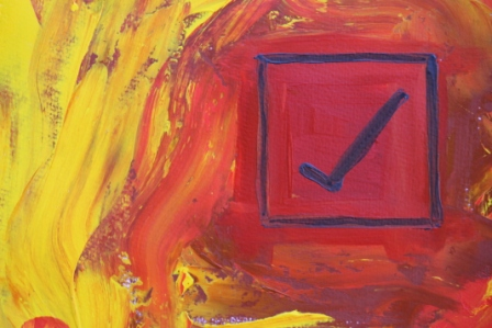 No. 6 Creative Writing & Abstract Painting 'The Happy Box!' Acrylic Paint on A3 HW Paper by Karen Robinson Oct 2014 NB All images are subject to copyright law.JPG