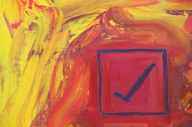 No. 7 Creative Writing & Abstract Painting 'The Happy Box!' Acrylic Paint on A3 HW Paper by Karen Robinson Oct 2014 NB All images are subject to copyright law.JPG
