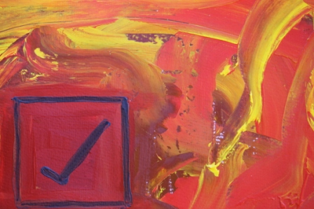 No. 8 Creative Writing & Abstract Painting 'The Happy Box!' Acrylic Paint on A3 HW Paper by Karen Robinson Oct 2014 NB All images are subject to copyright law.JPG