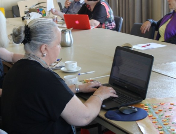 Creative Writing Carers Group with MIND Australia at Northcote Townhall writing for the 'Reflections Carers Group Exhibition' 2015 Photo featuring Karen Robinson NB All images are copyright protected.